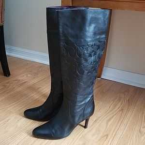 COACH Millie Black Leather high Boots 7.5 M